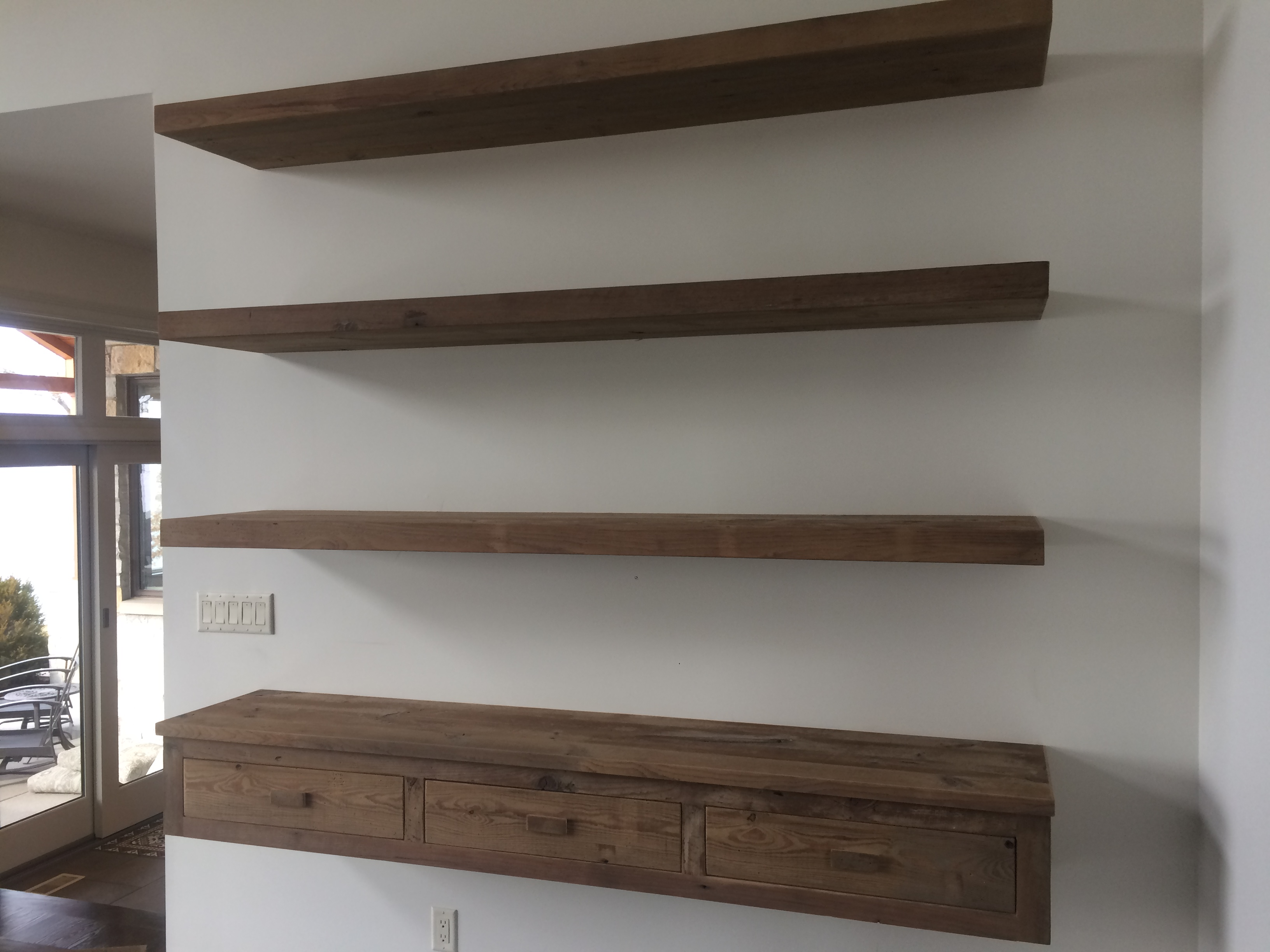Floating shelves reclaimed pine