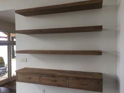 Floating shelves reclaimed pine