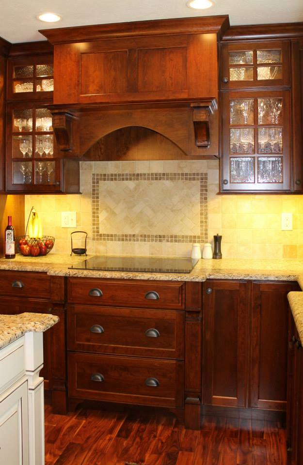 Cherry Cabinets with Painted Island