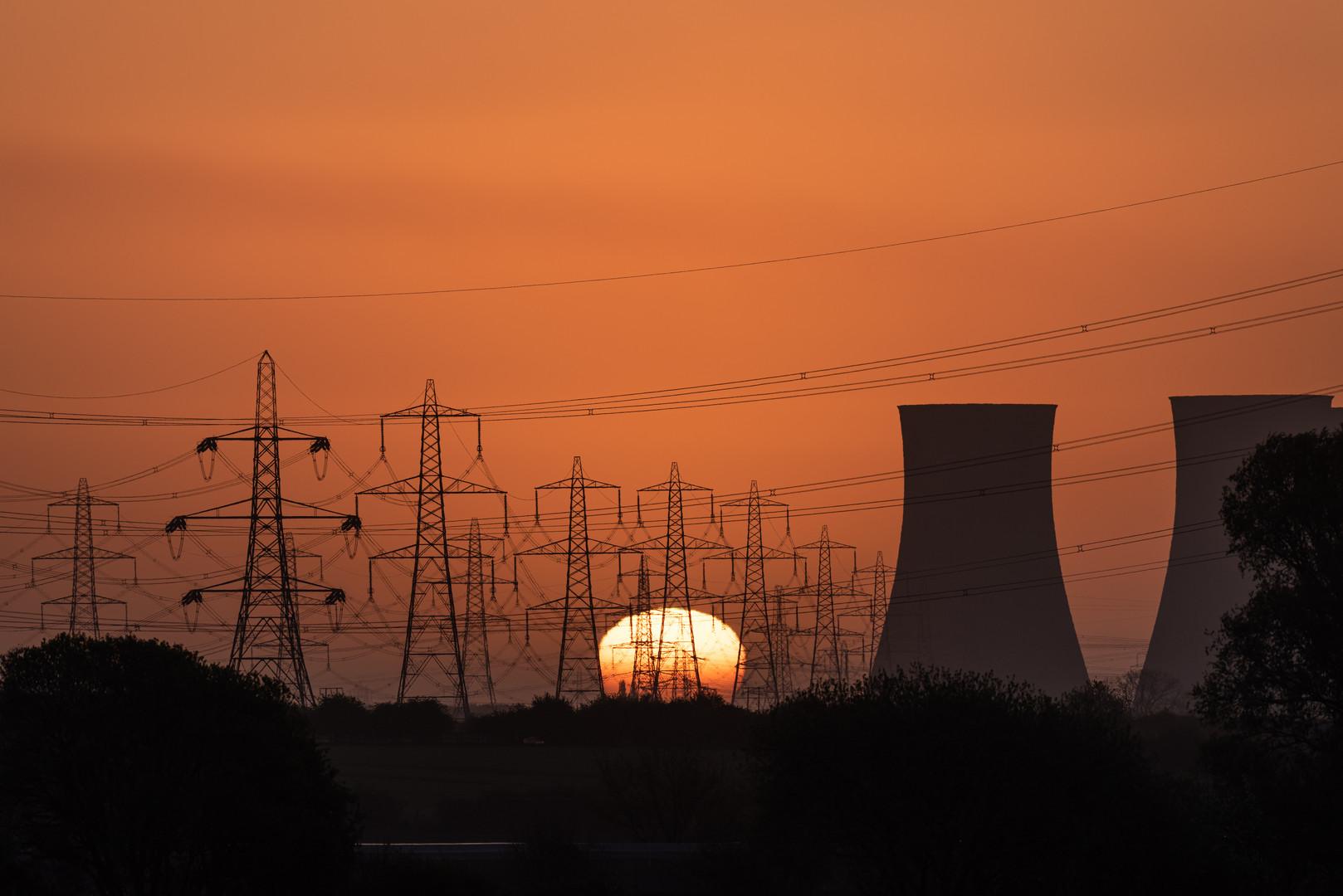 Sunrise Behind Eggborough Power Station, North Yorkshire