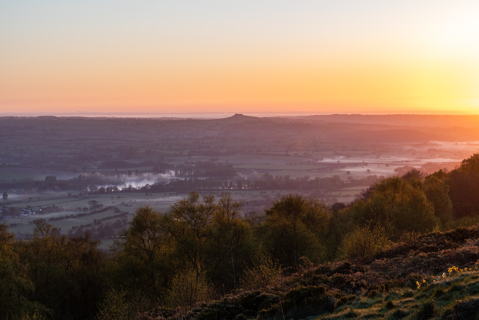 Sunrise Looking Toward Almscliffe Crag, North Yorkshire