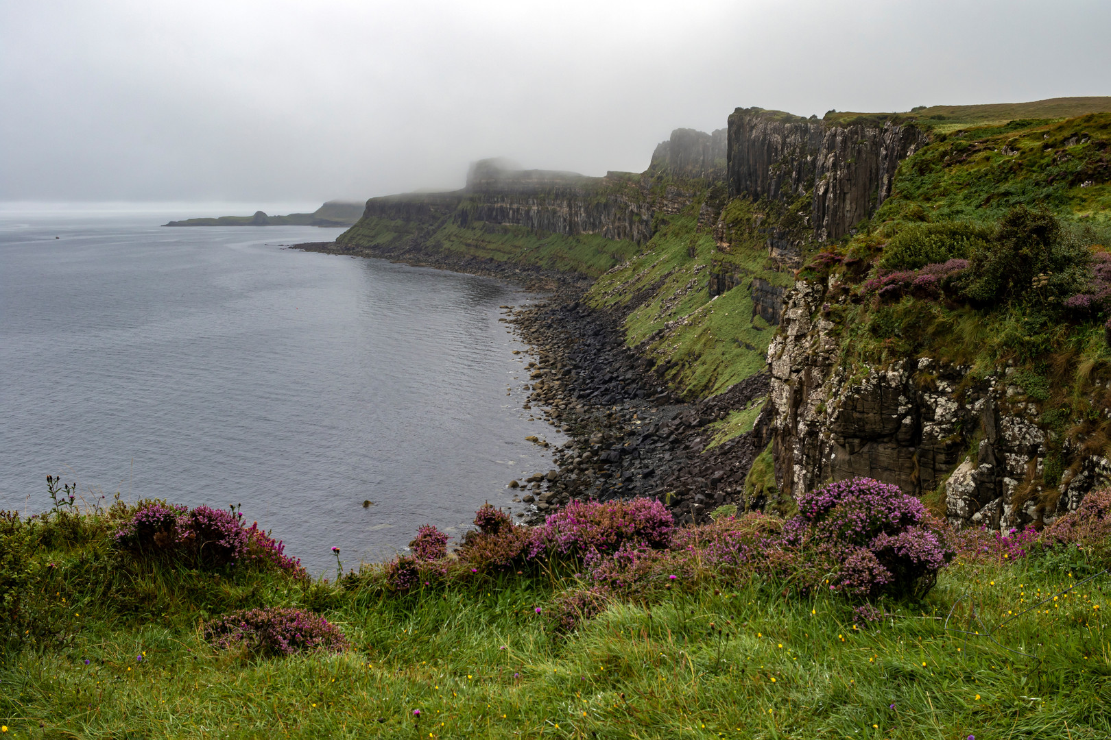 Foggy Cliffs at the Kilt Rock and Mealt Falls Viewpoint, Isle of Skye, Scotland