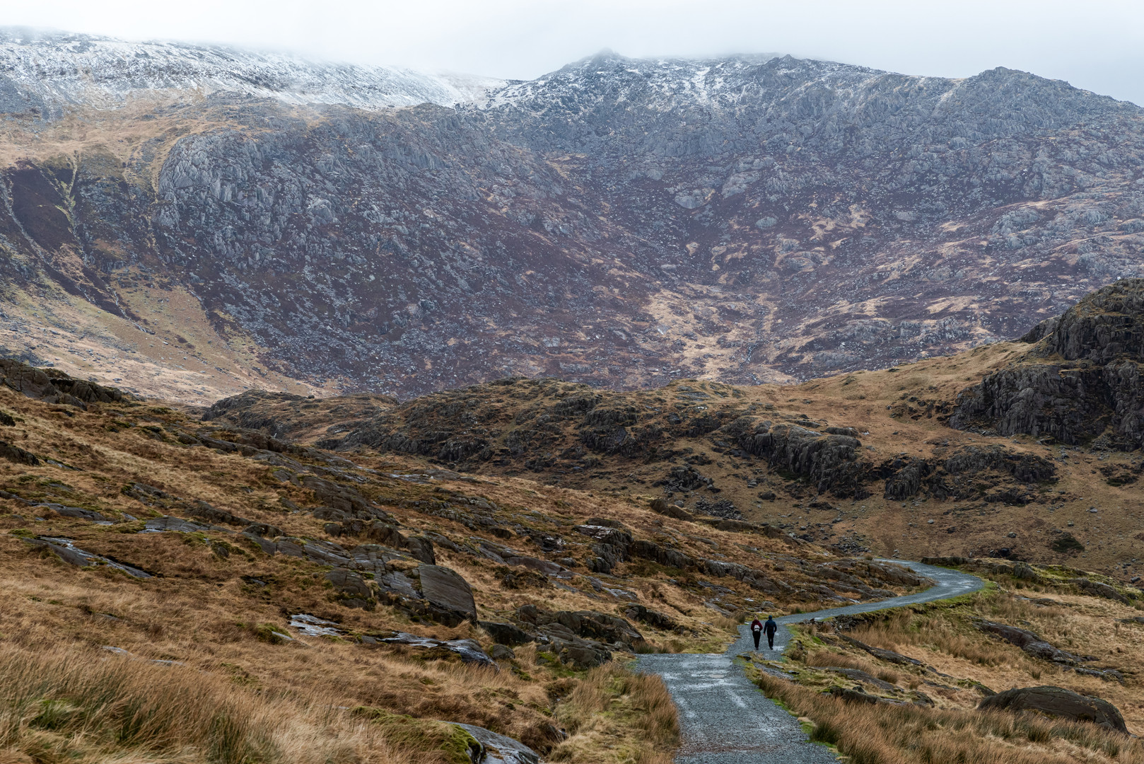 Looking Down the Miner's Track at the Base of Snowdonia, Wales