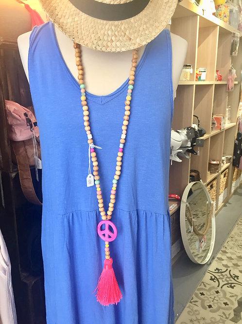 sautoir peace & love rose - perles bois
