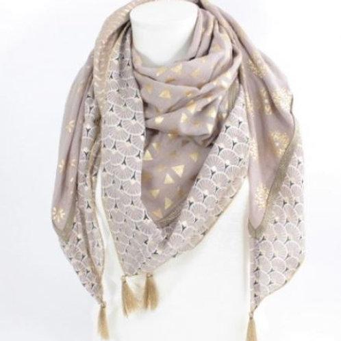 Foulard carré coton tendance mode - taupe