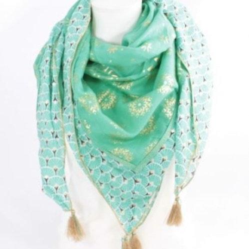 Foulard carré coton tendance mode - aqua