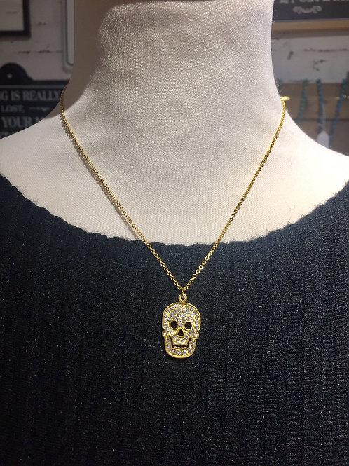 collier doré skull avec strass en acier inoxydable
