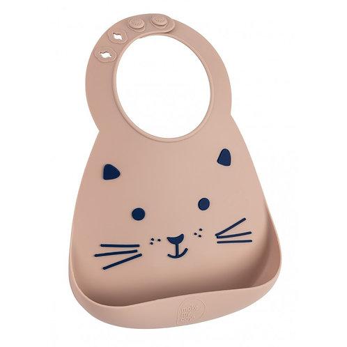Bavoir en silicone souple : le chat taupe