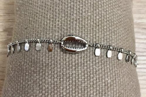 bracelet coquillage argenté en en acier inoxydable