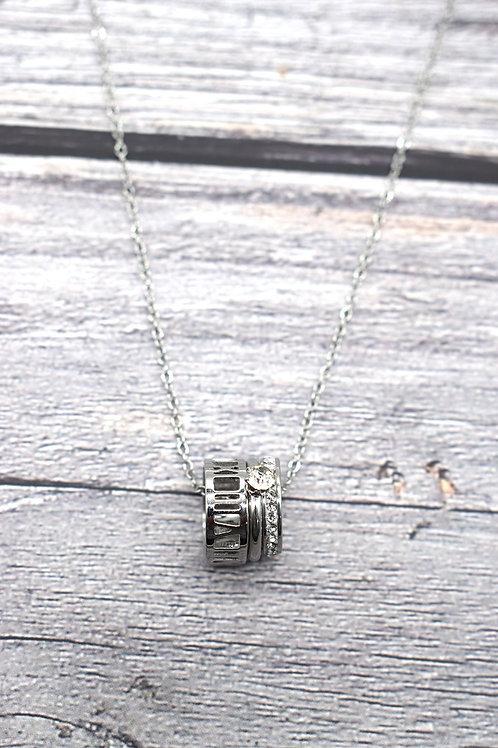 Collier argenté acier inoxydable 3 breloques