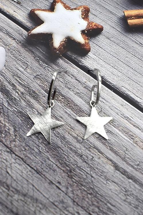 boucles d'oreilles étoile argentée acier inoxydable
