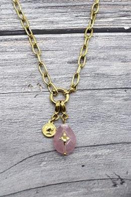 collier à pampilles pierre rose en acier inoxydable