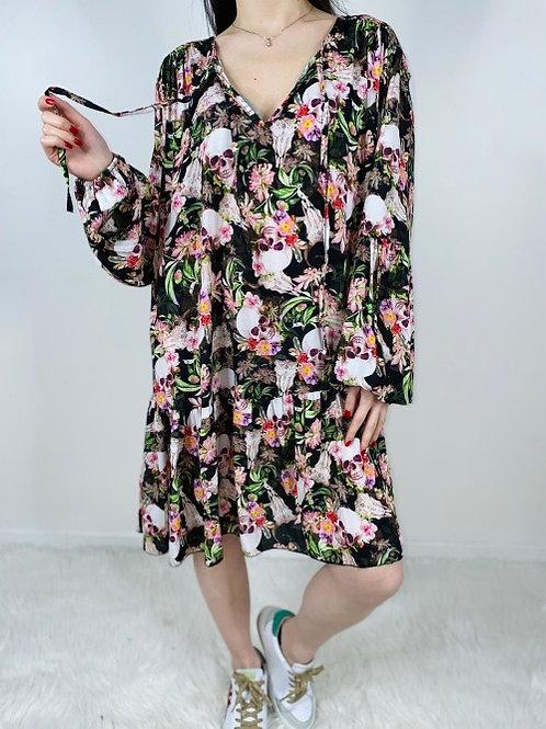 robe ample skulls & flowers