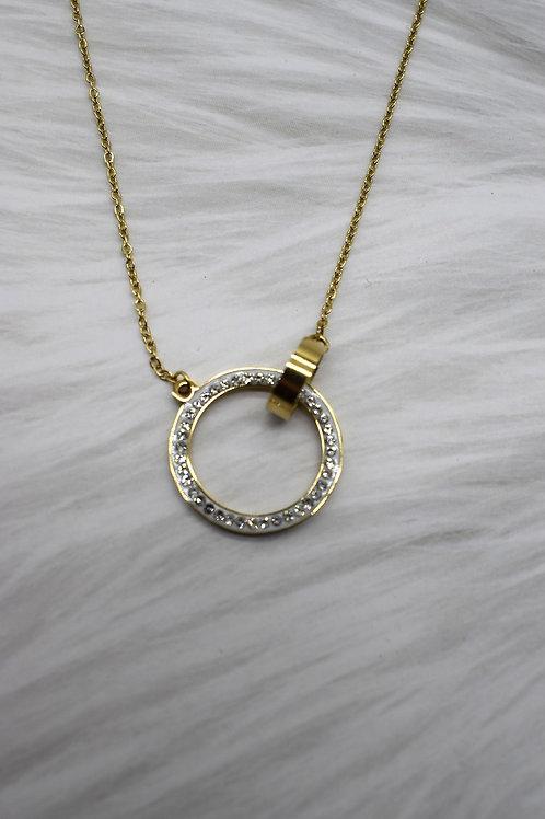 Collier acier inoxydable doré double anneau