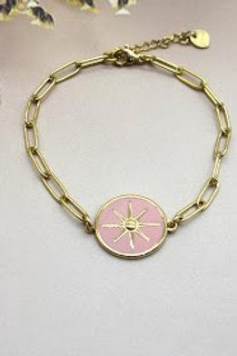 bracelet doré étoile du sud fond rose acier inoxydable