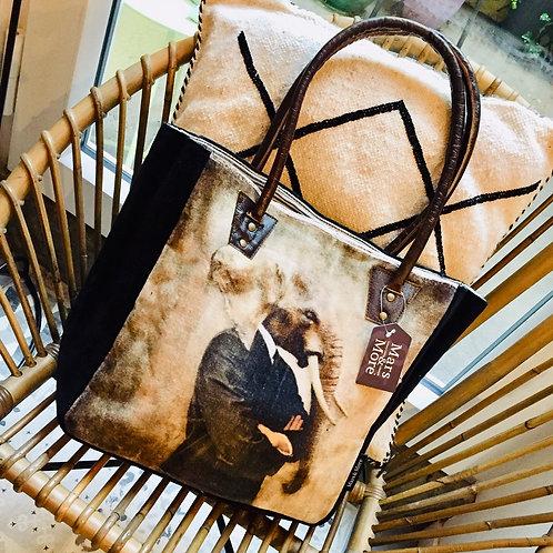 sac velours éléphant