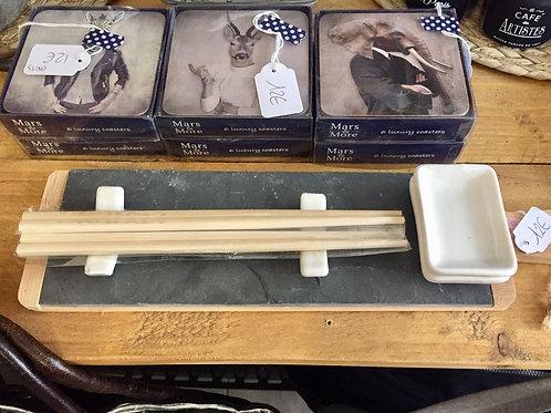 Set à sushi planche ardoise et 7 pièces