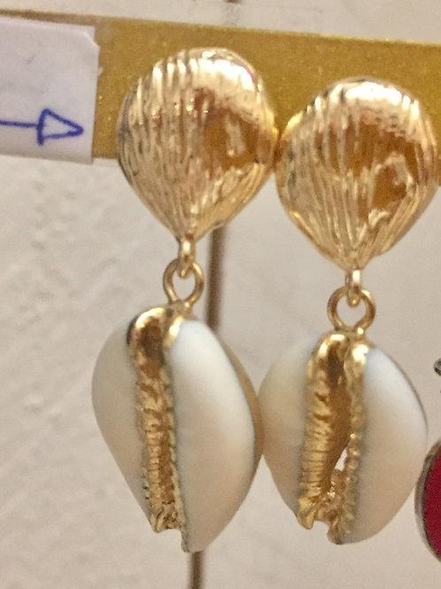 boucles dorées coquillage blanc en acier inoxydable