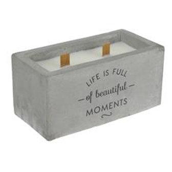 Bougie parfumée ciment 2 mèches bois
