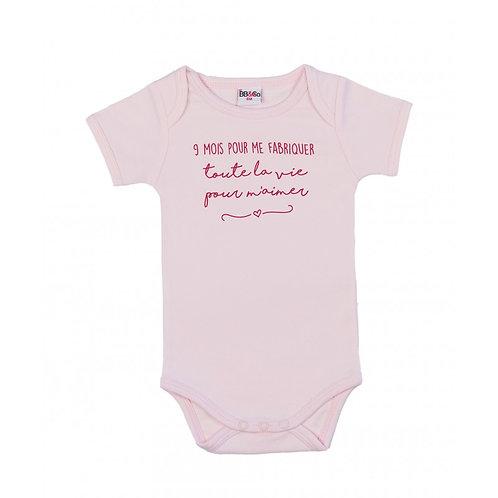 """Body manches courtes """"9 mois pour me fabriquer"""" rose pastel"""