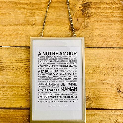 carte maman dans cadre chainette