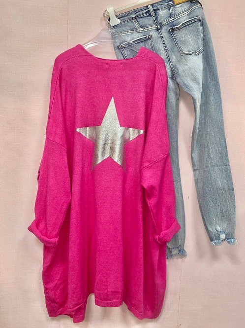 veste fuchsia étoile argentée