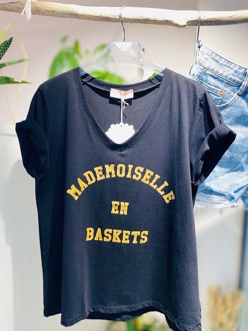 tee-shirt mademoiselle en basket