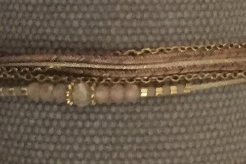 Bracelet multi-tours Mina cordons chaîne dorée & pierres