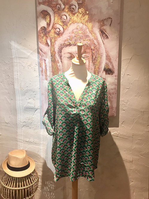 chemise fluide motifs verte