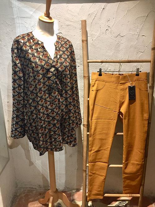blouse noir, marron et or CHRISTY