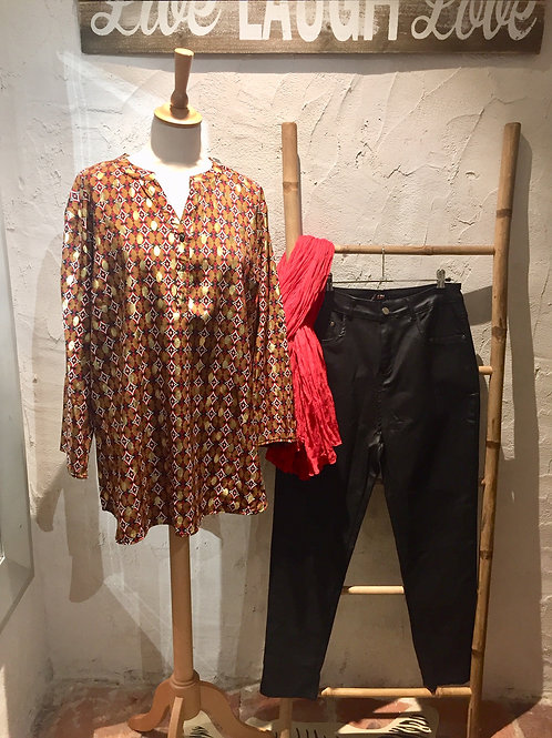 blouse marron, rouge et or CHRISTY