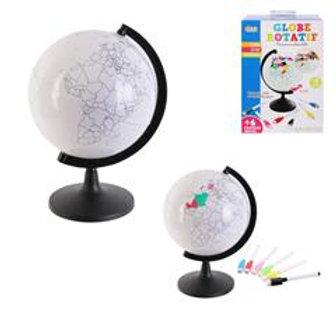 Globe rotatif à personnaliser et feutres 22 cm