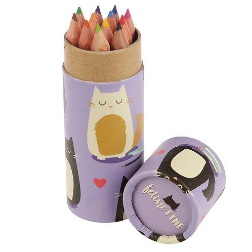 Pot à Crayons & Crayons de Couleur Feline Fine - Chat