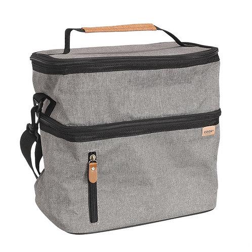 Lunch bag gris zippé  26.7X27.9X17.8 cm
