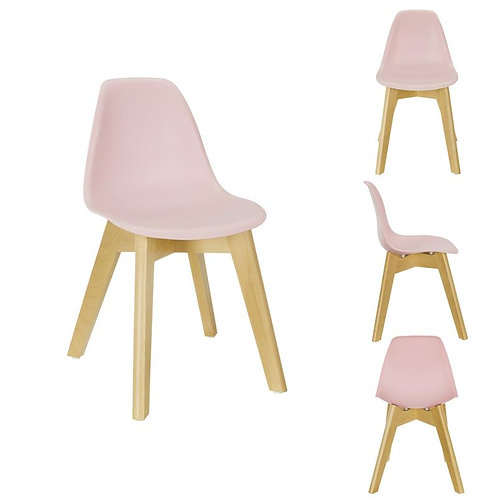 Chaise scandinave enfant coque rose