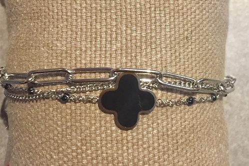 bracelet argenté 3 ranges avec trèfle en acier inoxydable