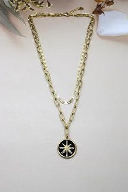 collier double étoile noire en acier inoxydable