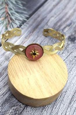 jonc doré étoile du sud  fond rose poudré acier inoxydable