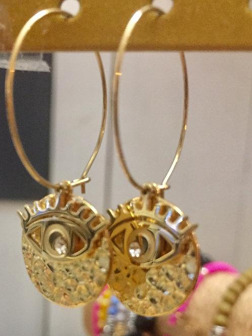 boucles d'oreilles dorées œil  en acier inoxydable