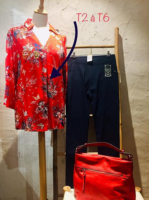 Blouse japan spirit rouge