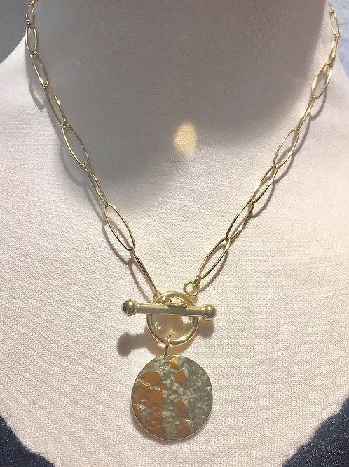 collier doré avec cabochon acier inoxydable
