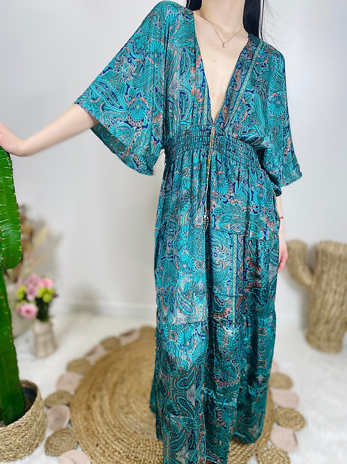 Robe india en soie et viscose