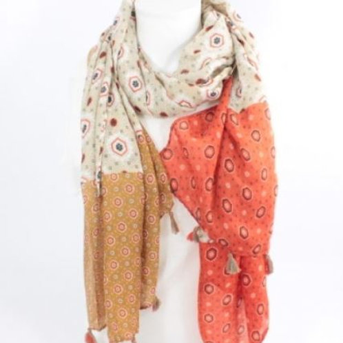 foulard imprimé mode - orange et marron