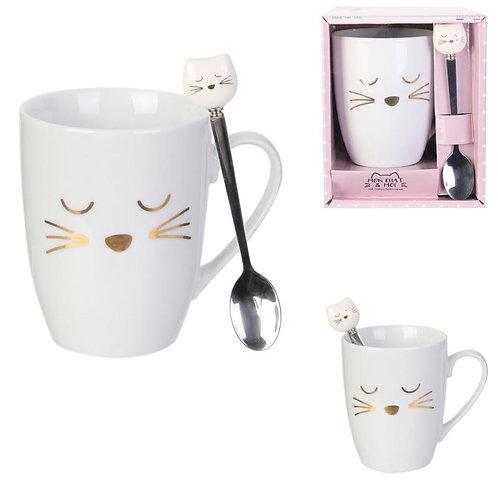 Mug chat avec cuillère chat 30 cl