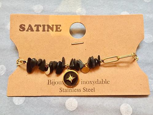 bracelet doré avec perles et étoile du sud noire  en acier inoxydable