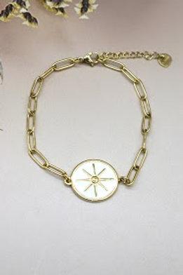 bracelet doré étoile du sud fond blanc acier inoxydable