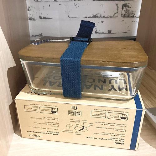 Boîte repas naturelle colorée (lanière bleu marine)