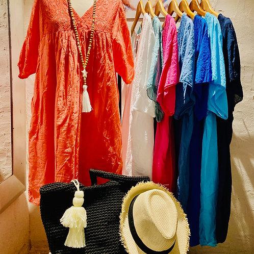 robe courte en coton et dentelle