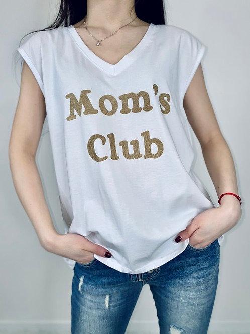 tee-shirt mom's club blanc