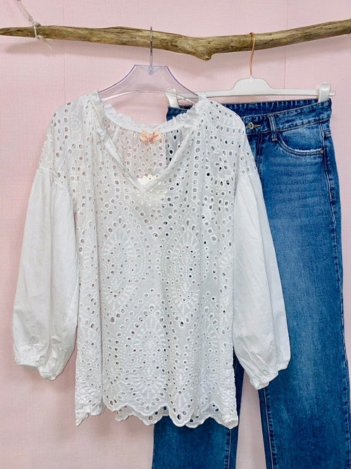 blouse en broderie anglaise blanche